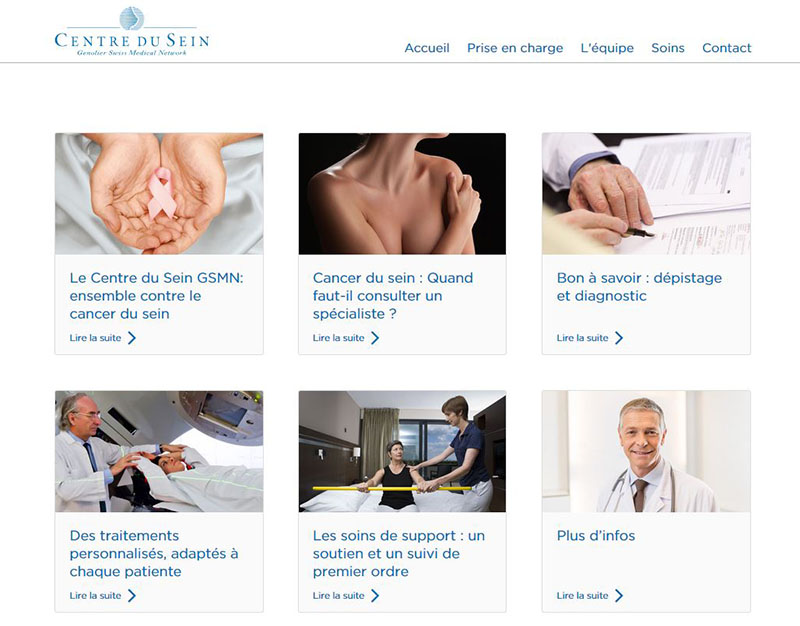 Swiss Medical Network - Centre du Sein - Site internet