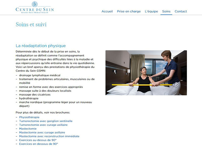 Swiss Medical Network - Centre du Sein - Site internet