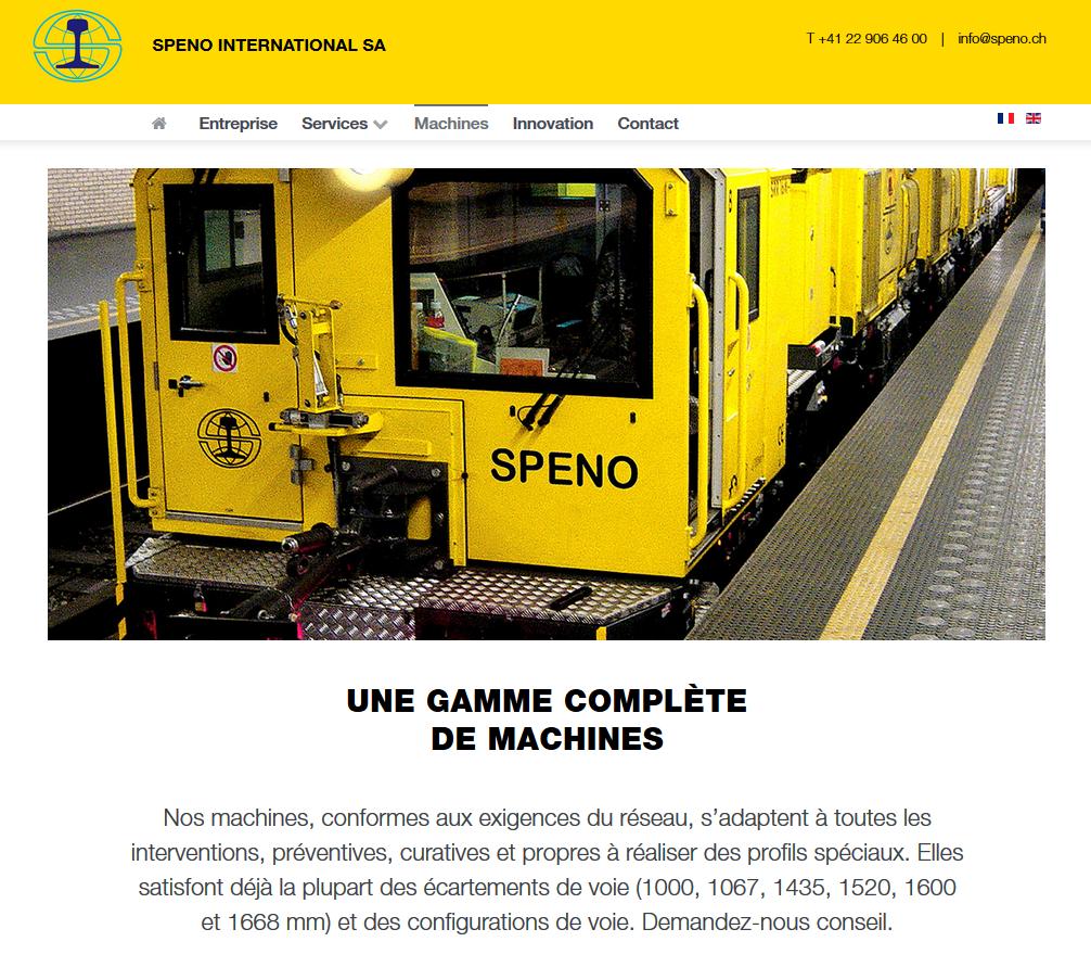 Services - SPENO International - Site internet - Machines