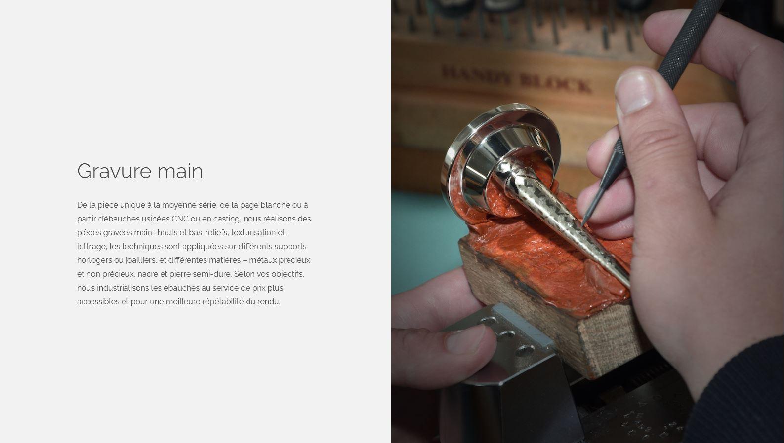 Horlogerie - Mu-Tech - Site internet - Page Gravure main