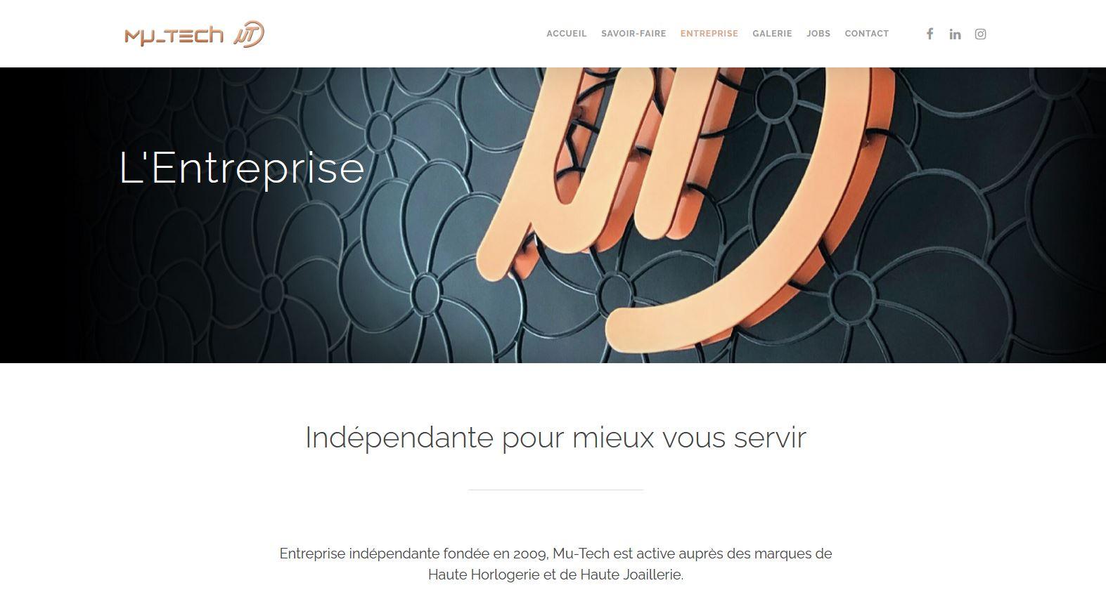 Horlogerie - Mu-Tech - Site internet - Page Entreprise