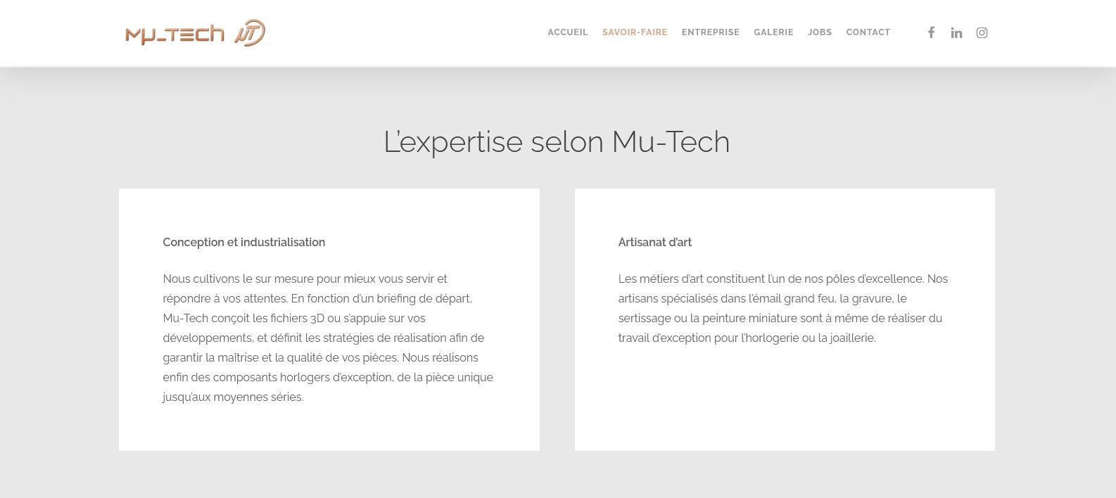 Horlogerie - Mu-Tech - Site internet - Page Expertise