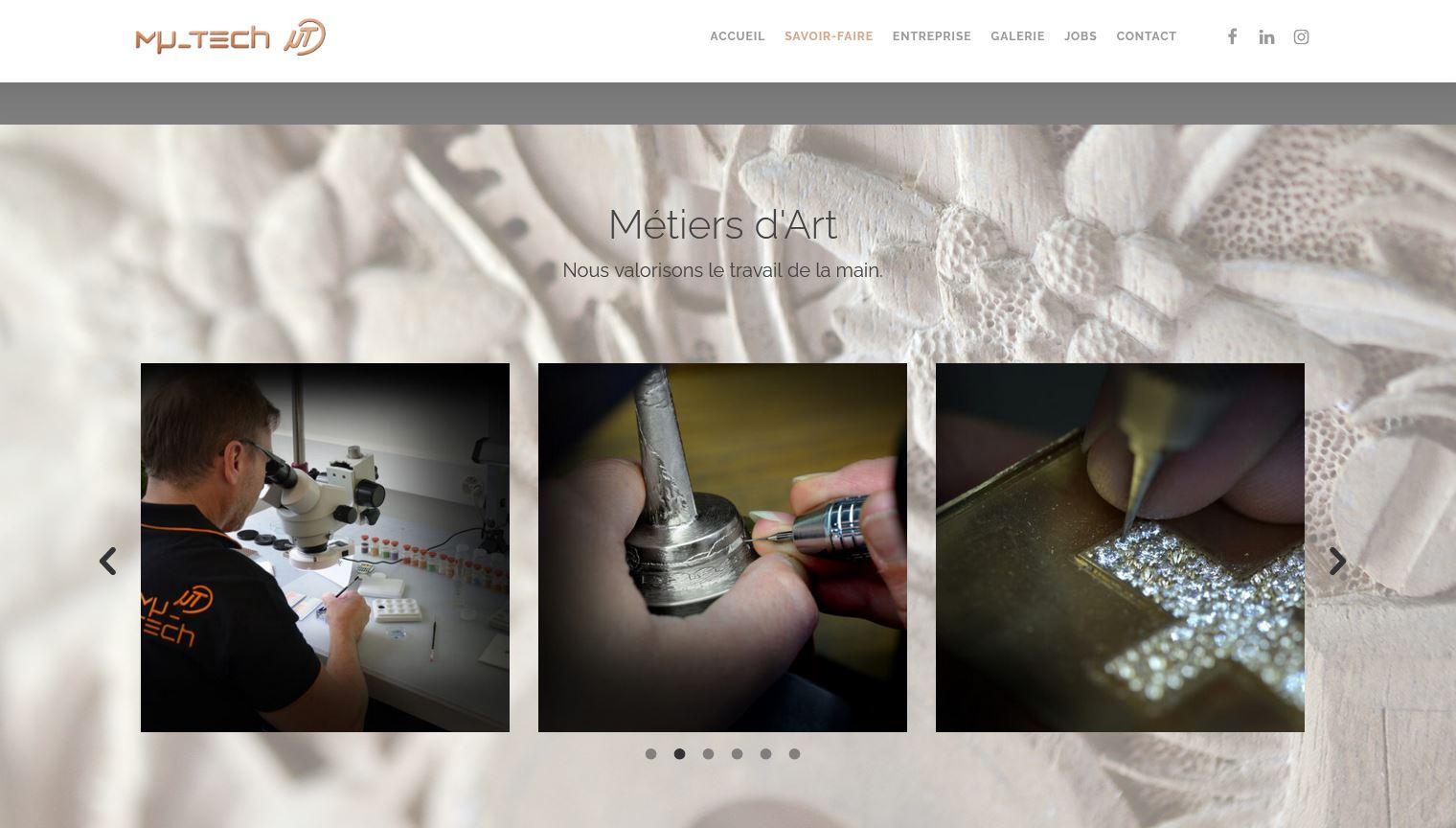 Horlogerie - Mu-Tech - Site internet - Page Gravure Métiers d'art