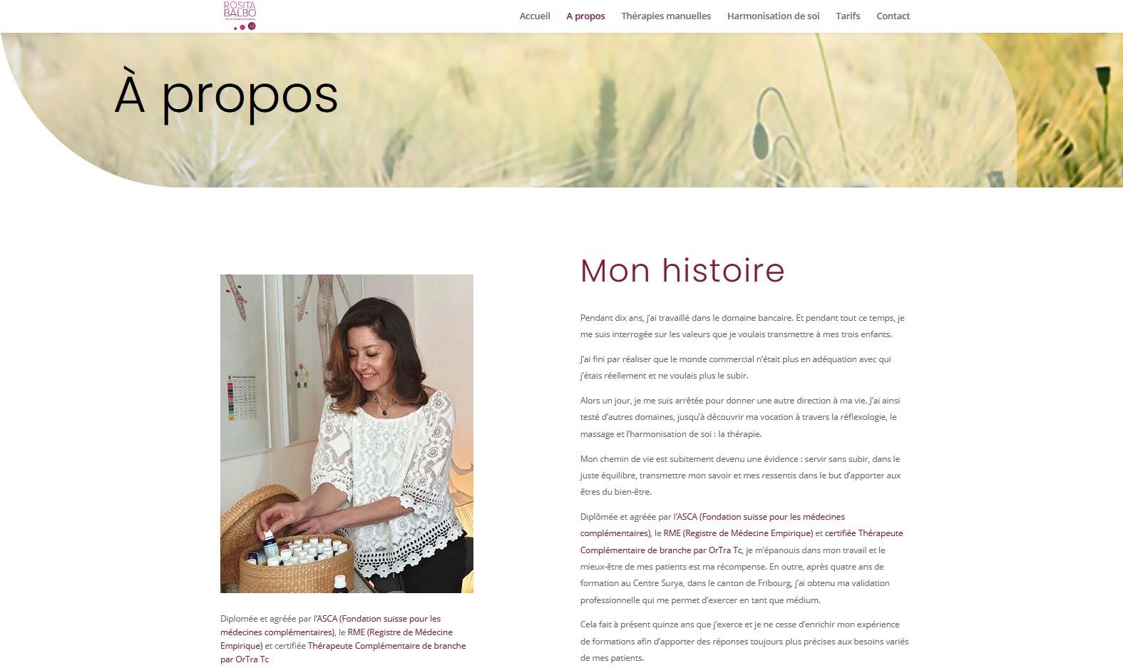 Santé - Rosita Balbo - Site internet - Page Mon histoire