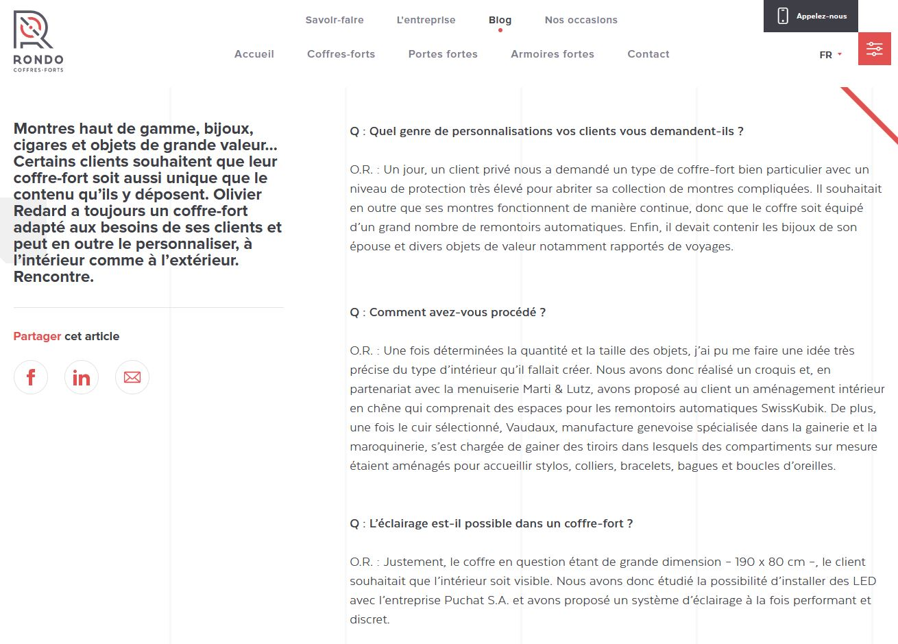 Services - Coffres-forts Rondo - Blog - Post Personnalisation