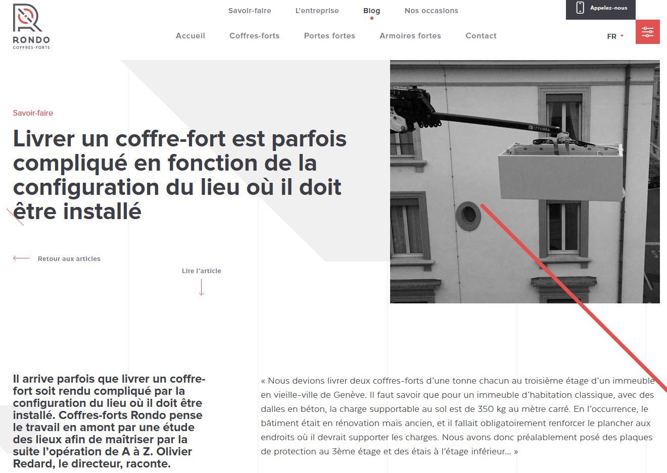 Services - Coffres-forts Rondo - Blog - Post Livraison