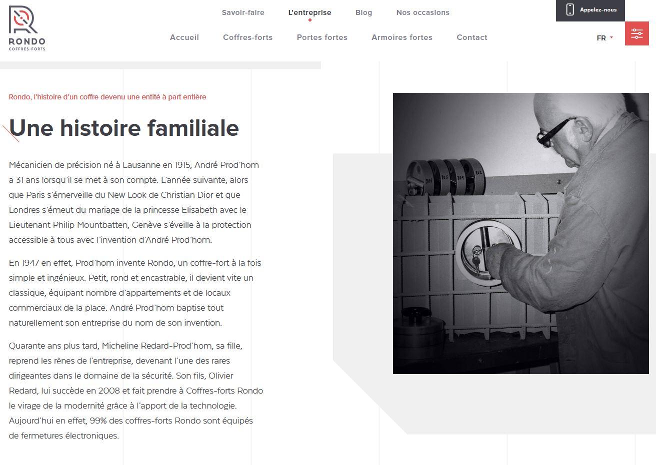 Services - Coffres-forts Rondo - Site internet - Histoire